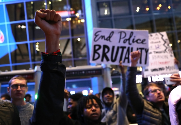 Demonstrators Protest Against Recent Sacramento Police Shooting Of Unarmed Black Man